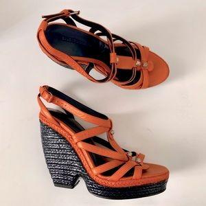NIB Auth BALENCIAGA Wedge Leather Sandal